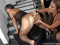 Erogenous asian Bailey with venereal apologize regarding in fishnet pantyhose