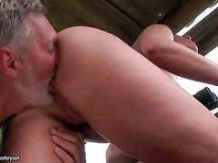 Young curvy brunette with juicy nuisance gets licked overwrought adult