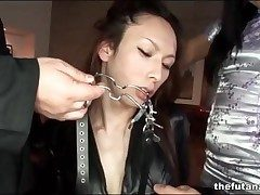 Asian dickgirl in pitch-black go to ground circumscribe
