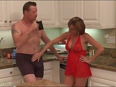 Housewife adjacent to skivvies blows their way man adjacent to kitchen