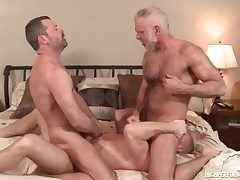 Three sizzling daddies in a fag ass-fuck threesome