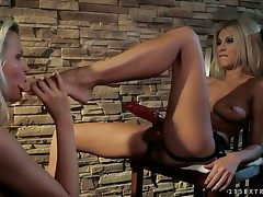 Blonde with enormous udders gets turned on and