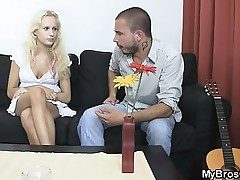 Blonde slut cheats her Beau with his brother